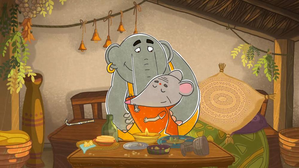 Слон Прабу — герой совмещающий в себе внешнюю тяжесть с легким характером. Кадр из мультфильма «Летающие звери» / Фото: студия анимации «Да»